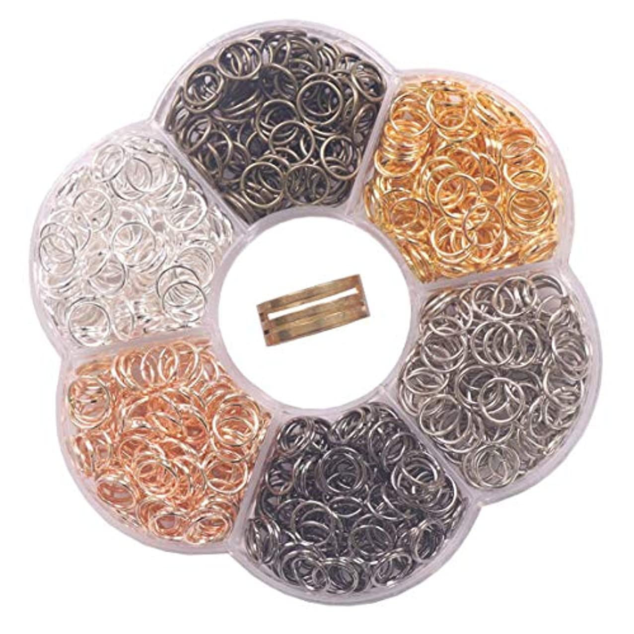 YAKA 1200Pcs 8mm1Box 6 Colors Open Jump Ring,Ring Jewelry Keychain for Jewelry Making Accessories,1Pcc Jump Ring Open/Close Tool and 1Pcs Clear Box (0.31