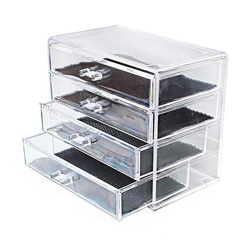 NIBABA Caja de Almacenamiento Transparente Cajón de Cuatro Capas Caja de Almacenamiento de acrílico Transparente Accesorios de joyería Accesorios de Almacenamiento de Joyas