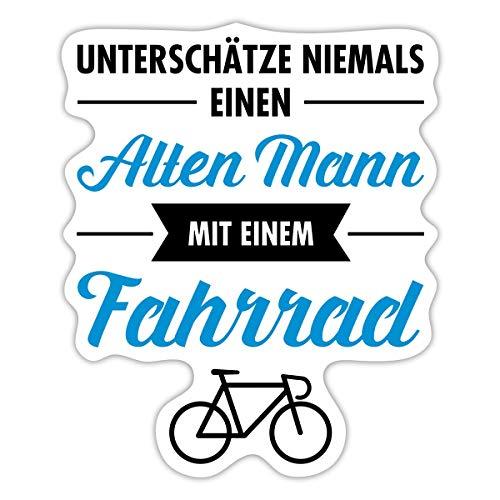 Alter Mann Mit Fahrrad Lustiger Spruch Sticker, 10 x 10 cm, Mattweiß