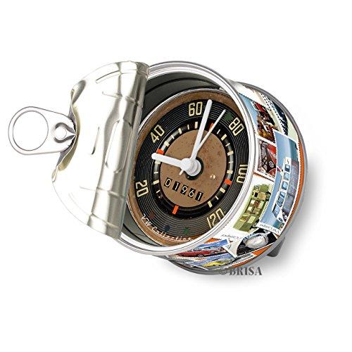 BRISA VW Collection - Volkswagen Tisch-Uhr, Magnet-Uhr, MyClock auch personalisierbar, Foto-Geschenk, VW-Fan-Sammler-Stück (VW T1 Bulli Bus Motiv/Briefmarken)