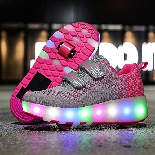 ZZRA Schuhe mit Rollen LED Rollenschuhe Unisex Doppelrad Skateboardschuhe USB Lade Laufschuhe Sportschuhe Outdoor Gymnastik Turnschuhe Mädchen Junge