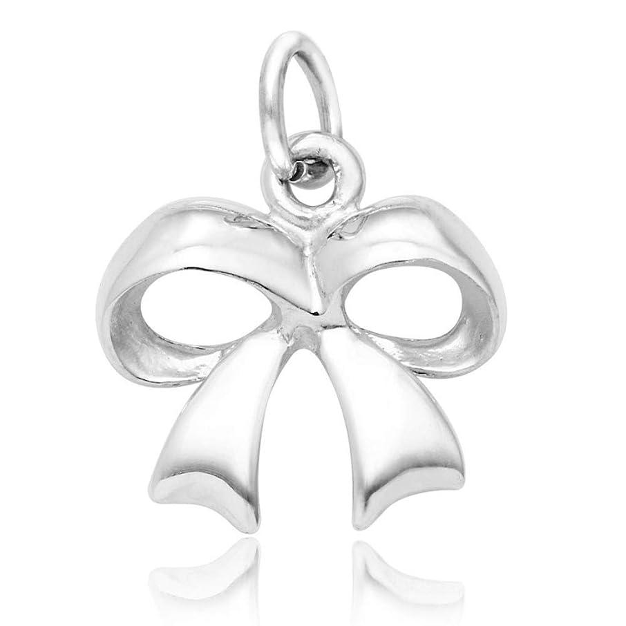 925 Sterling Silver Ribbon Bow Charm Pendant