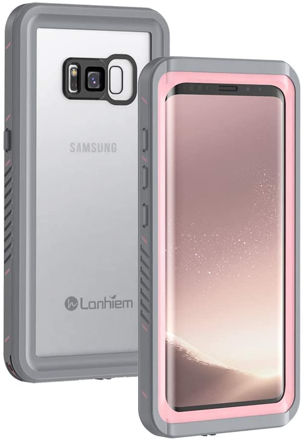 Lanhiem Samsung Galaxy S8+ Plus Case, IP68 Waterproof Dustproof Shockproof Case with Built-in Screen Protector, Full Body Sealed Underwater Protective Clear Cover for Samsung S8 Plus (Pink)