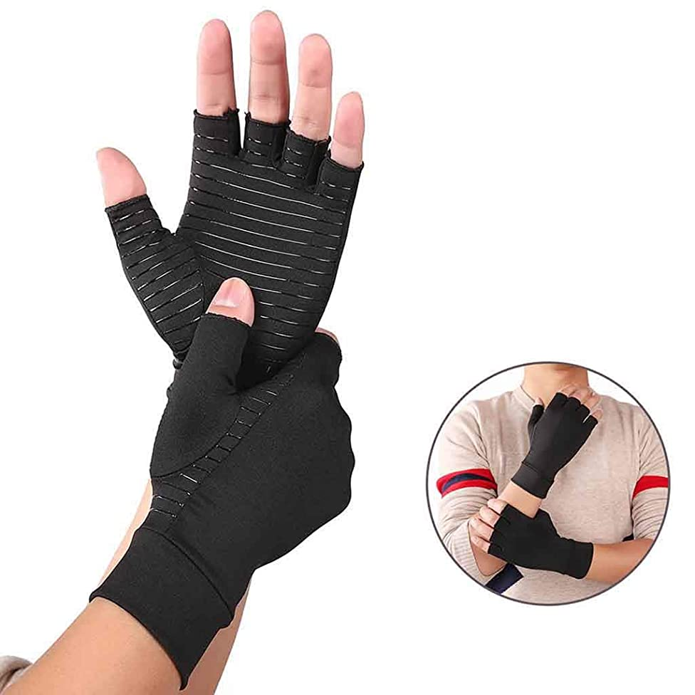 Compression Arthritis Gloves - #1 Best Copper Infused Fit Glove for Women and Men. Carpal Tunnel, Computer Typing, and Everyday Support for Hands (2.1-2.6inch)