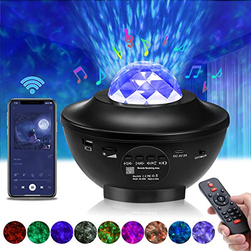 Elfeland LED Sternenhimmel Projektor, Sternenlicht Projektor Projektionslampe Kinder Ozeanwellenprojektor mit Fernbedienung/Bluetooth/Timer/Lautsprecher, Nachtlicht für Geschenke