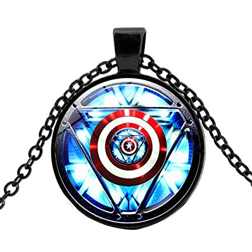 The Avengers Jewelry Pendant Necklace for Men Kid Marvel Iron Man Tony Stark Heart Necklace Creative Arc Reactor A Generation Time Gem Chain Necklace