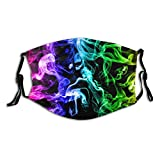 Colored Smoke Reusable Face Mask with 2 Filters Colorful Cigarette Smoking Scarf with Nose Wire Adjustable Washable Fabric Bandanas with Filter Pocket for Women Men Dust