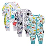 3 Piezas Bebé Mono Mameluco de Manga Larga Niños Niñas Body Peleles Pijama Regalo de Recien Nacido 3-6 Meses