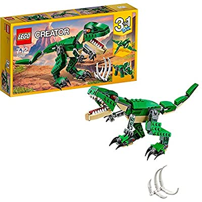 LEGO 31058 Creator Mighty Dinosaurs Toy, 3 in 1 Model, Triceratops and Pterodactyl Dinosaur Figures, Modular Building System by LEGO