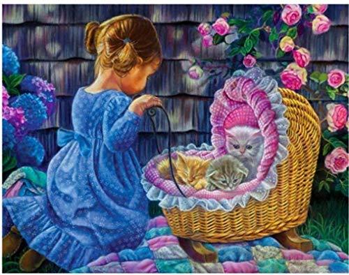 Puzzels 1000-delige kleuruitdaging voor volwassenen en kinderen Leuk meisjes- en kattenpak Unieke in elkaar grijpende stukjes Legpuzzels