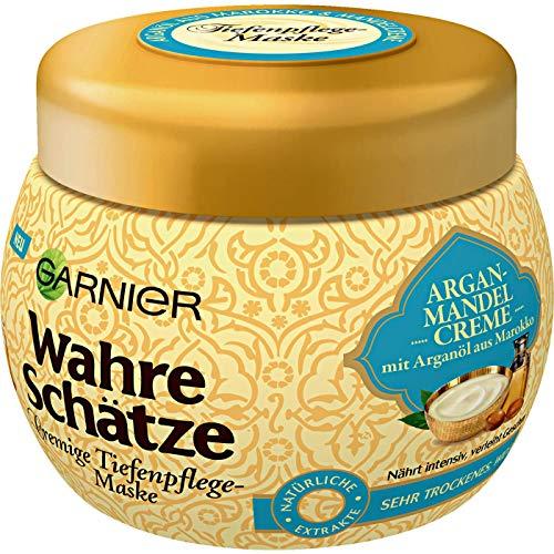 Garnier Wahre Schätze, maschera cremosa per la cura dei capelli con olio di argan marocchino, cura dei capelli secchi, 300 ml
