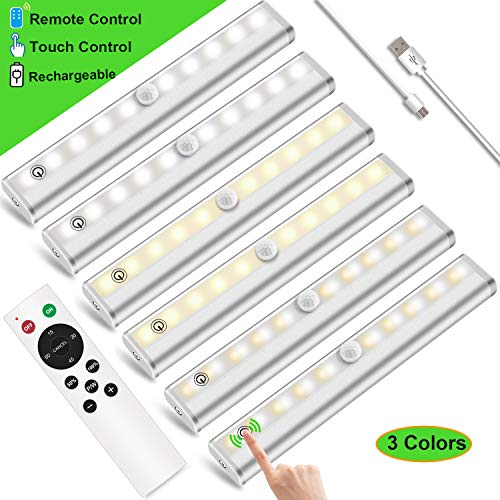 Under Cabinet Lighting with Remote LED Closet Light Anbock 20-LED Dimmable USB Rechargeable Under Counter Lighting LED Night Light Kitchen Cabinet Light with Touch Control, 3 Colors(6 Packs)