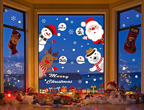 Grande Pegatinas de Navidad arbol fiesta extraíbles adorable Papá Noel nieve alce colores pegatina de pared etiqueta...
