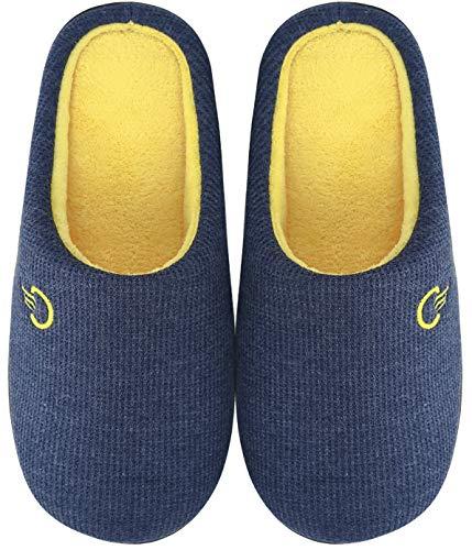 Mishansha Zapatillas de Estar en Casa Hombre Mujer, Zapatillas Casa Memory Foam para Invierno Otoño, Cómodas/Blanditas/Mulliditas y Calientes(Azul, 46/47 EU)