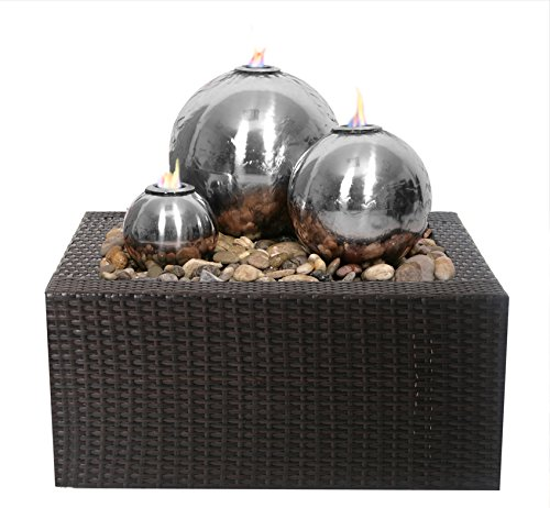 Primrose Magma Triple Stainless Steel Fire and Water Feature with Rattan Reservoir Case