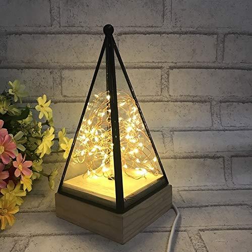 Koper Uit-schakelaar Knop LED Night Light Houten Vloer Lamp Triangle Tower Glazen Tafellamp Slaapkamer Woonkamer Home Decoration Wedstrijden Verlichting Simple Creative Decoration Floor Lamp