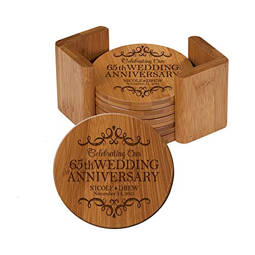 "LifeSong Milestones Personalized 65th Anniversary Solid Round Bamboo Coaster 6 Piece Set For Drinks With Holder -Wedding Keepsake Gift for Parents Husband Wife Him Her 3.75"" (65th Wedding Anniversary)"