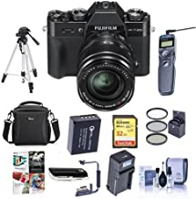 Fujifilm X-T20 Mirrorless Digital Camera Body, with XF 18-55mm F2.8-4 R LM OIS Lens, Black - Bundle with Camera Case, 32GB SDHC U3 Card, Spare Battery, Tripod, Remote Shutter Release, and More