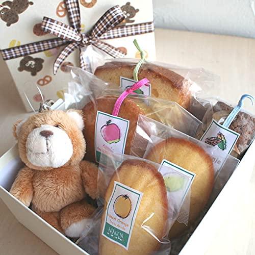 ベアボックス〜和歌山産フルーツやチョコレートの焼き菓子5種とクマのキーホルダー(NICI)のくま柄箱入りギフト【・プレゼント・お祝い・お礼】