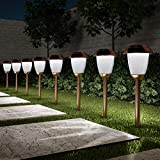 """Pure Garden 50-LG1060 Solar Path, Set of 8-16"""" Tall Stainless Steel Outdoor Stake Lighting for Garden, Landscape, Yard, Driveway, Walkway, Copper"""