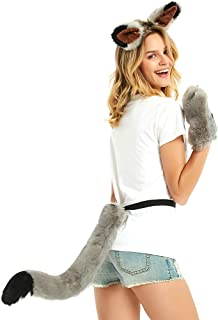 Faux Fur Wolf Costume Kit, Werewolf Gloves, Wolf Ears and Tail Set Cosplay Halloween Costumes for Women and Girls
