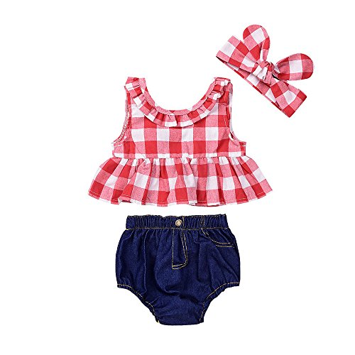Kobay Baby Mädchenkleidung Set Baby Girl Sommer Plaid Rock gekräuselt ärmelloses T-Shirt Tops + Denim Shorts Outfits(0-6M,Rot)