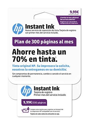 HP Instant Ink - Tarjeta de registro para impresora con plan de 300 páginas, color blanco