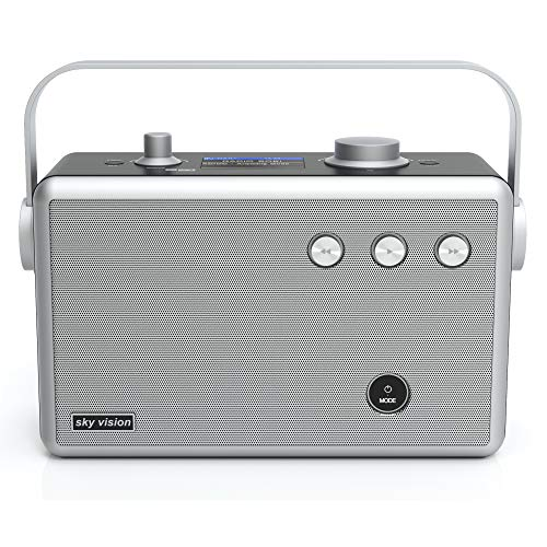 sky vision Stereo DAB Radio tragbar & mit Bluetooth (DAB+ Radio 55) - Digital Radio DAB (z.B. als DAB Badradio), DAB Plus Radio mit Wecker, Netzbetrieb oder Akku möglich