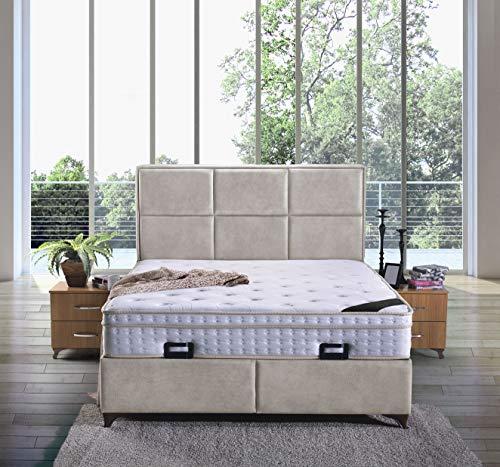 Cama canapé Madrid con canapé de tela, cama de hotel doble, color beige, tamaño 140 x 200 cm