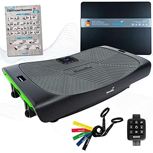 skandika 4D Vibrationsplatte V3000 Vibration Plate im Curved Design mit Smart LED Technologie, Trainingsvideo, Bluetooth-Lautsprecher und Trainingsbändern (matt schwarz + Bodenschutzmatte)
