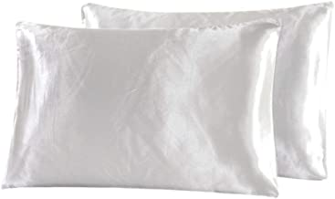 Satin Pillowcase for Hair and Skin-100% Microfiber Satin Pillow Cases Queen Set of 2 with Envelope Closure for Silk Sleep,Reduce Hair Breakage&Wrinkles Free,Pillow Protectors for Easy Care,Ivory White