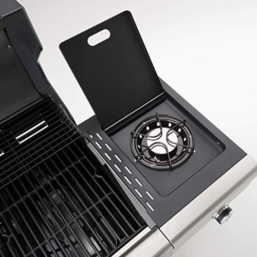 512r6E8y5OL - LANDMANN Gasgrill Triton PTS 2.1 | Premium Gasgrill mit doppelwandigem Deckel & Deckelthermometer | Grillrost aus emailliertem Gusseisen für perfektes Grillbranding | LANDMANN PTS-System [Schwarz]