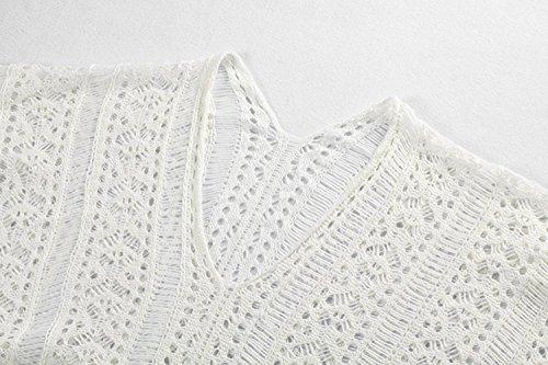 Tkiames, copricostume, estivo, da donna, a maglia, per la spiaggia Bianco2. Taglia unica