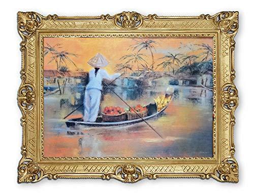 Lnxp Prachtig schilderij boot aan de rivier transport van fruit bananen Azië palmen 90x70 cm afbeelding schilderij in goud afbeeldingen barok antiek repro P-34