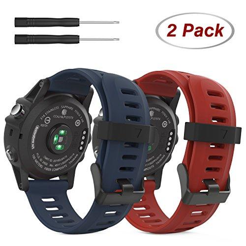 MoKo Pulsera para Fenix 6X/6X Pro, Fenix 3/Fenix 3 HR/Fenix 5X/5X Plus, [2-Pzs] Correa Pulsera de Silicona Respirable y Reemplazable, Banda de Reloj Deportivo con Cierre - Rojo Oscuro & Azul