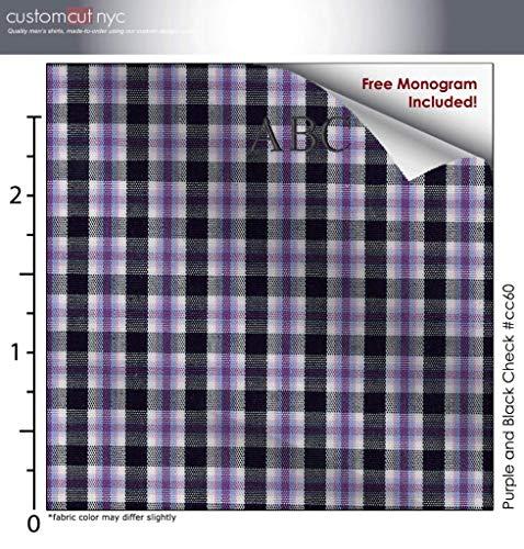 Purple and Black Check #cc60, 100% Cotton, Men's Monogrammed Custom Tailored Dress Shirt