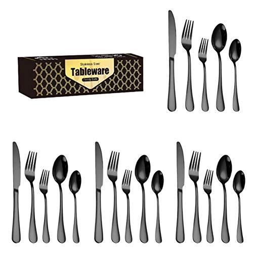 WSYW 20-teiliges Besteck-Set aus Edelstahl, Besteck-Set mit Messer, Löffel, Gabel, Spiegelpolierbesteck für Zuhause und Küche, schwarz