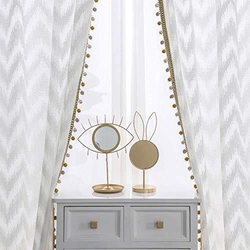Moderne Wave Stijl Venster Tule Gordijn Zuivere Witte Villa Decoratie Lichttransmissie Gordijnen Voor Slaapkamer Woonkamer Keuken, Vaste Plooi, 150x250cm