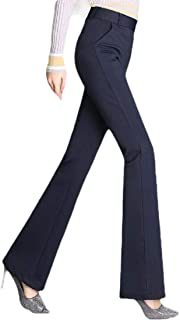 Womens Solid Trousers Boot Cut Slim Fit High Waist Pant