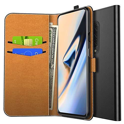 Yocktec Hülle für OnePlus 7 Pro, Ultra Slim Premium PU Leder Flip Wallet Tasche mit Kartenfach & Ständer für OnePlus 7 Pro 2019 Smartphone (Schwarz)