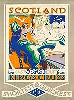 アルミニウム金属ノベルティ危険サインインチ、キングスクロススコットランドからの東海岸ルートによるスコットランド、ヴィンテージルックサインホームハウスコーヒービールドリンクバーの装飾