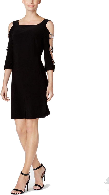 MSK Women's Cold Shoulder Rhinestone Accent Trapeze Shift Dress