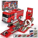 LTOOTA Fire Truck Truck Car City Toy Set, Estacionamiento Autos Garaje De Juguetes para Niños con Música, Frases Divertidas Y Luces para Bebés, Juguetes De Pista De Autos para Niños De 1 a 9 Años