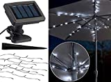 Luminea Solar Schirm Beleuchtung: Solar-LED-Sonnenschirm-Lichterkette mit 8 Strängen und 72 LEDs, IP44 (Sonnenschirmbeleuchtung Solar)