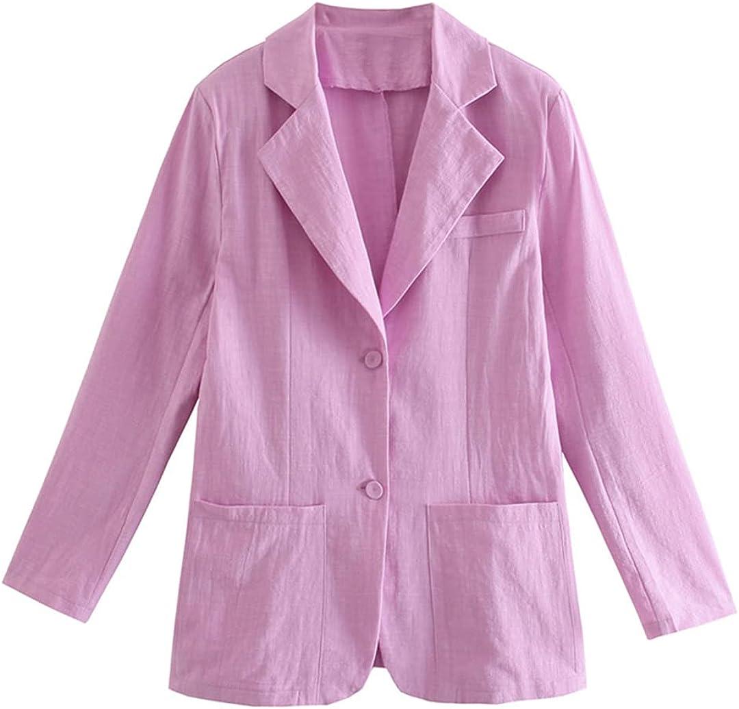 Fashion Single Button Thin Blazers Women Vintage Long Sleeve Poc