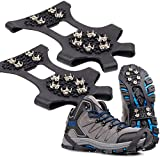 Ice Cleats Traction Ice Grips Crampons, FFFTTTN New Upgrade Anti Slip Snow Grips with 10 Teeth Stainless Steel Durable Silicone for Ice Walking, Ice Fishing, Snowing, Hiking, Climbing (L)