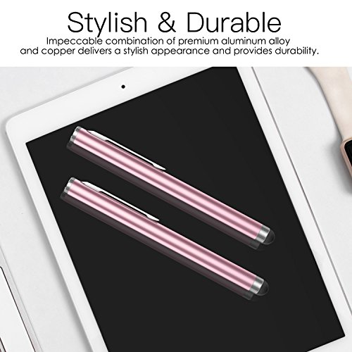 MoKo 4 Stück Eingabestift Touchstift Stylus, Präziser Touch Stift Fiber Tipps Pen für Apple iPad/iPad Mini/Air/Pro, iPhone Samsung Galaxy Tablet und Alle Kapazitive Touchscreen Geräte - Rosa Gold