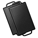 Hisencn Pre-Seasoned Cast Iron Reversible Grill Griddle,13 Inch Griddle Plate for Gas Stovetop with Easy Grip Handles, Portable for Indoor Stovetop or Outdoor Camping BBQ