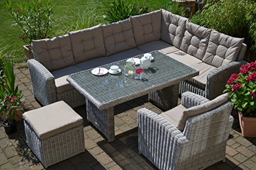 "Ecklounge Manhattan (Ecksofa ""links"" + Tisch + Sessel + Hocker) großes Rattan Gartensofa Lounge Polyrattan sand grau natur für 6-8 Personen - 2"