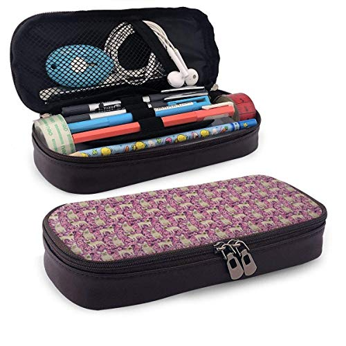 Französische Bulldogge Kirschblüte Leder Bleistiftetui Multifunktions-Kosmetik-Make-up-Tasche für Gilrs Jungen und Erwachsene